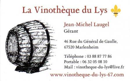 Carte De Visite Vinotheque Du Lys A Marlenheim