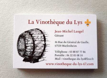Creation de cartes de visite vinotheque du lys a marlenheim